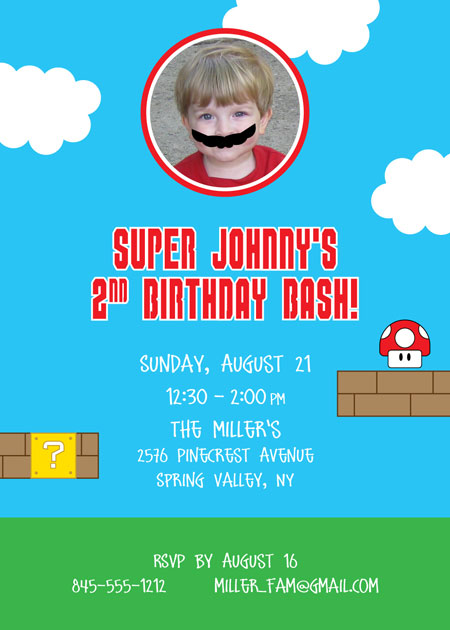 Birthday Super Mario Brothers Invitation / A fun Super Mario Brother's inspired invitation.