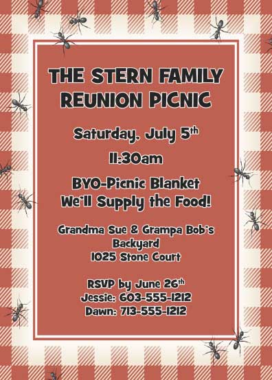 "Backyard Picnic Invitation / Invite your ""ants"" to a family reunion!"