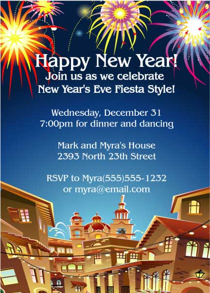New Years Fiesta Invitation / Personalize for your Fiesta Themed Party!