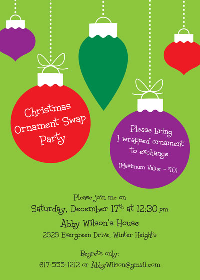 Christmas Ornaments Invitation / This fun ornaments invitation is great for Christmas