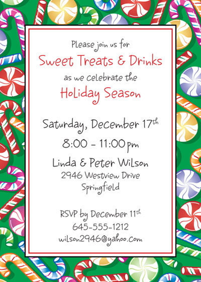 Christmas Candy Invitation / Christmas Party Invitation with candy treats.