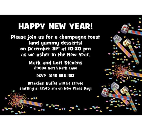 Noisemakers New Years Invitation / Great New Year's Eve Party Invitation.