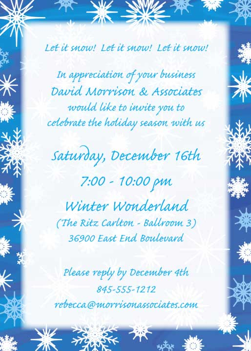Winter Snow Invitation / Personalize for your Holiday Party!