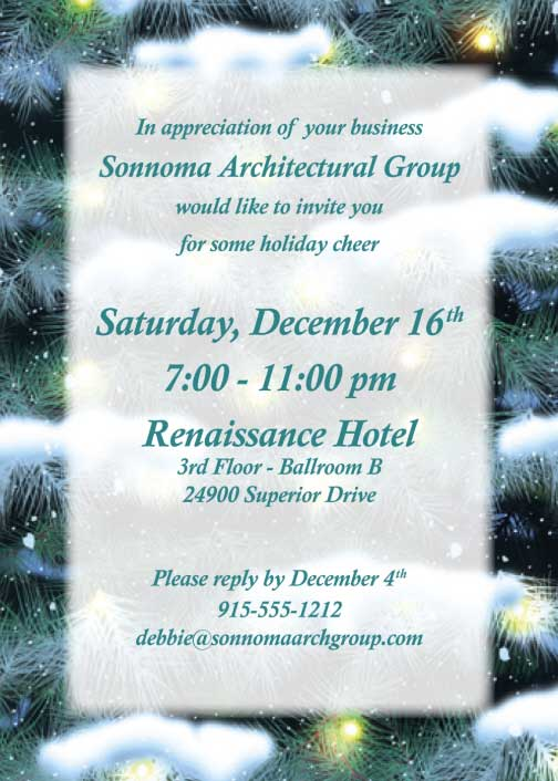 Winter Holidays Invitation / Great for a Holiday Party, just Personalize.