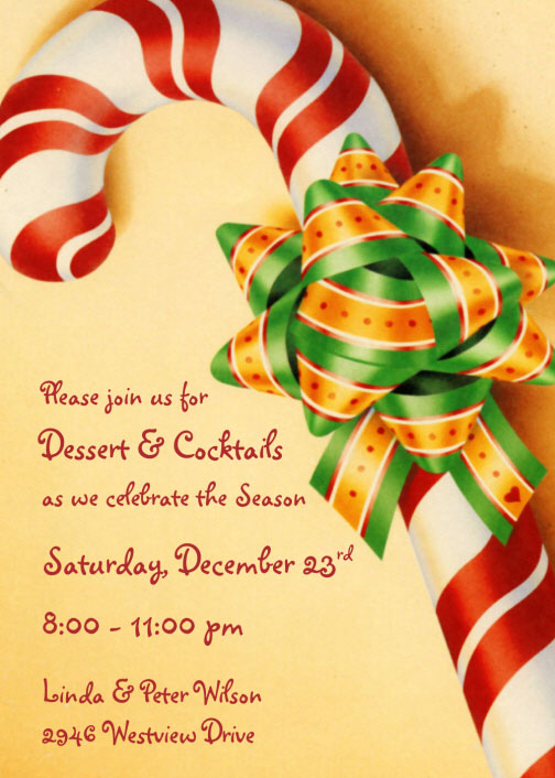 Christmas Candy Cane Invitation