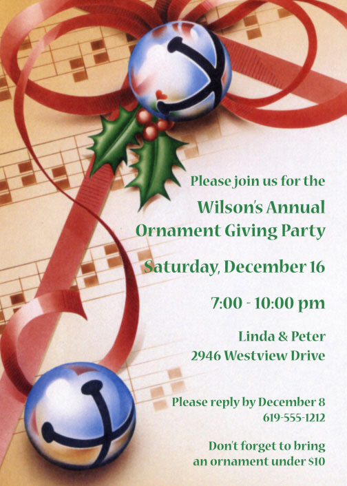 Christmas Bells Invitation / Bells will ring in your guests with this Christmas Party Invitation.