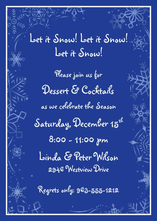 Winter Theme Invitation / Let it snow and Personalize this invite for your Holiday Party.