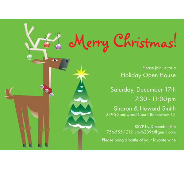 Christmas Reindeer Invitation / Christmas Party Invitation with a cute reindeer and tree!