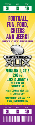 Mardi Gras Super Bowl Ticket Invitation / Invite everyone for a Mardi Gras theme Super Bowl bash