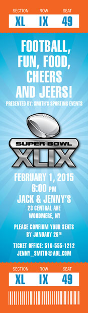 2015 Super Bowl XLIX Logo Ticket Invitation