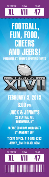 2013 Super Bowl XLVII Logo Ticket Invitation / A Super Bowl XLVII Logo Ticket Invitation