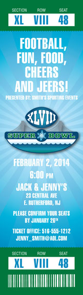 2014 Super Bowl XLVIII Logo Ticket Invitation / A Super Bowl XLVIII Logo Ticket Invitation