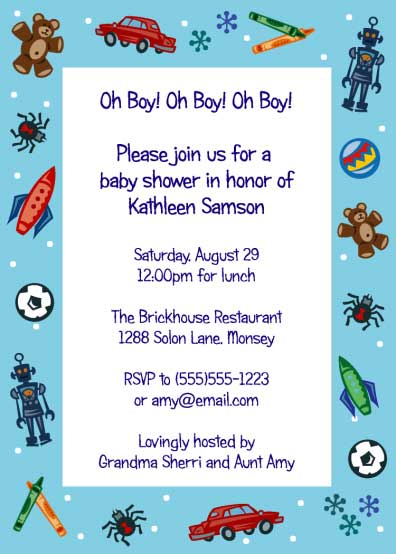 Baby Shower Invitation, Toys / Rocket and cars and bugs! What more could a boy love in this Baby shower invitation!
