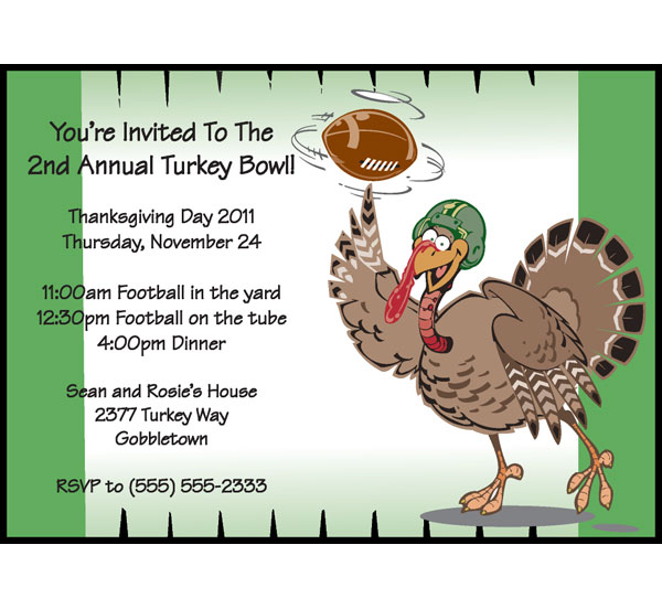 Thanksgiving Turkeybowl Invitation / Great for the Turkey Bowl lover in your house! Great Thanksgiving Party Invite.