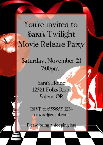 Twilight Party Invitation / And his hair was perfect.(Werewolves of London).