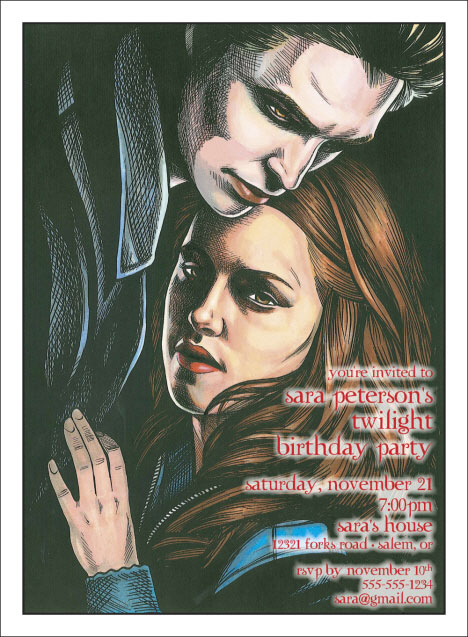 Twilight Caricature Invitation / Not your Daddy's Twilight Zone for sure.