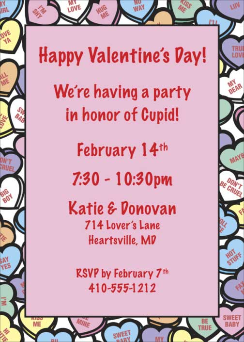 Valentine's Day Candy Hearts Invitation