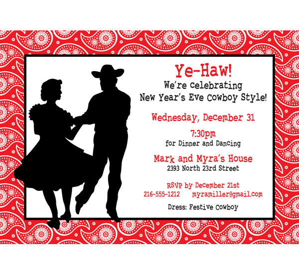 Western Dancing Invitation / Ye-Haw. New Year's Eve (or any party) cowboy style!