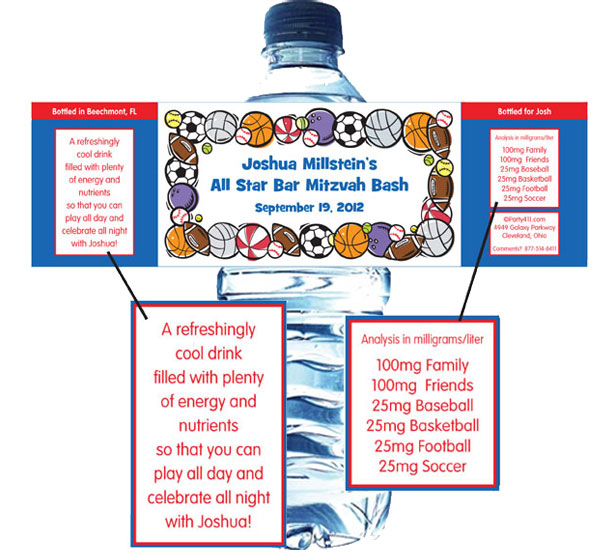 Sports Balls Water Bottle Label