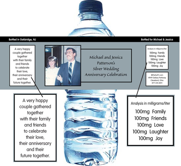 25th Anniversary Theme Bottle Label, Water / Your guests will be thirsty after celebrating your 25 anniversary