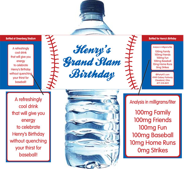 Baseball Theme Water Bottle Label / A great baseball party favor!