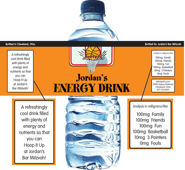 Basketball Hoops Theme Water Bottle Label