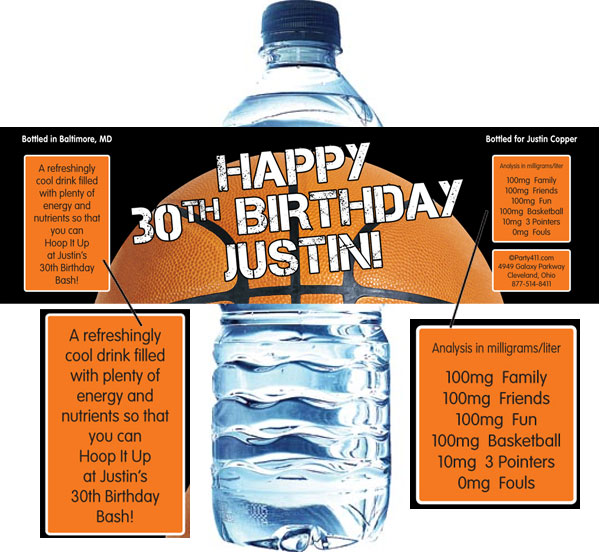 Basketball Party Theme Water Bottle Label / This water label party favor is a slam dunk