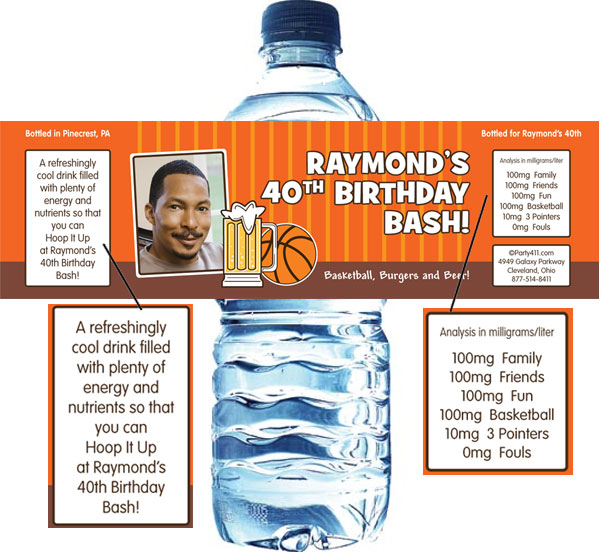 Basketball Celebration Theme Water Bottle Label