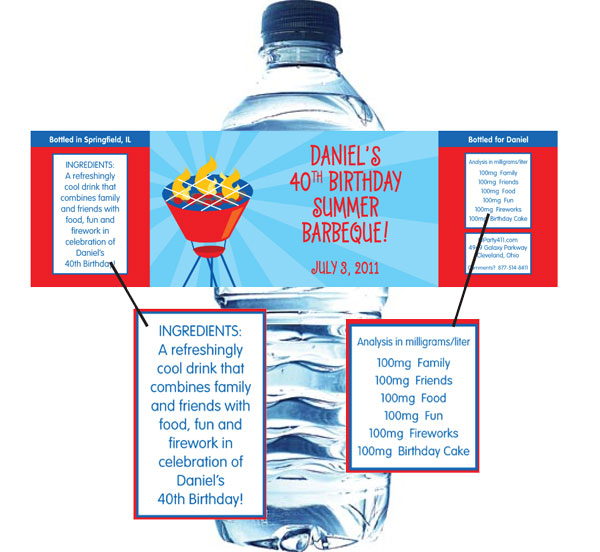 Barbecue Theme Water Bottle Label / Fantastic BBQ Water Bottle Label