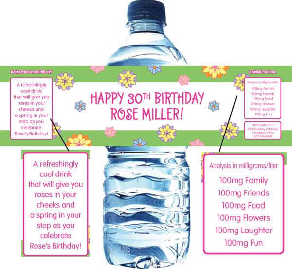 Flower Theme Water Bottle Label