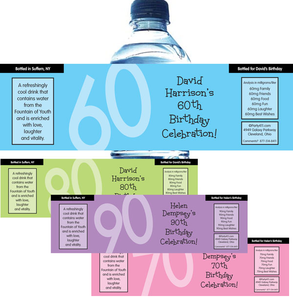 Birthday Age Water Bottle Label