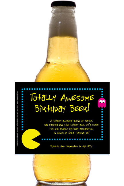 80s Theme Beer Bottle Label / Beer is much better than chomping dots. The perfect 80's party favor!