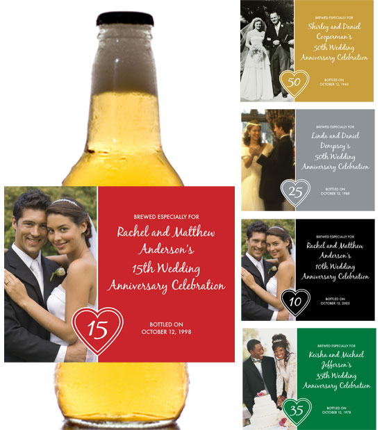 Anniversary Heart Photo Theme Beer Bottle Label