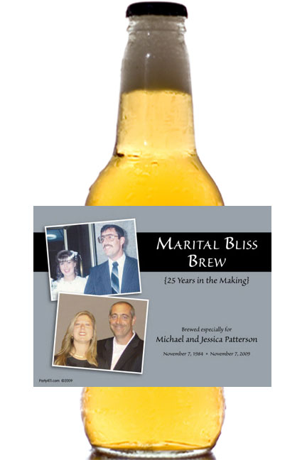25th Anniversary Theme Bottle Label, Beer / A silver party favor great for your anniversary party