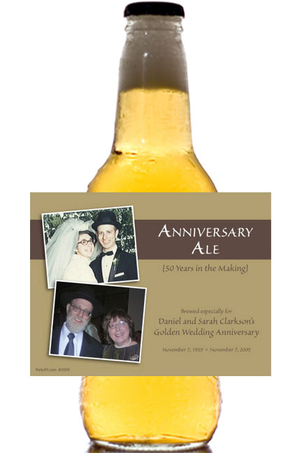 50th Anniversary Theme Bottle Label, Beer / A refreshing party favor after 50 years