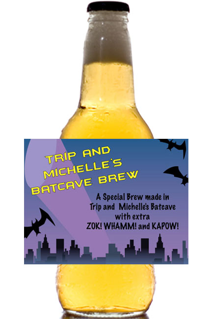 Kapow! Batman Theme Beer Bottle Label