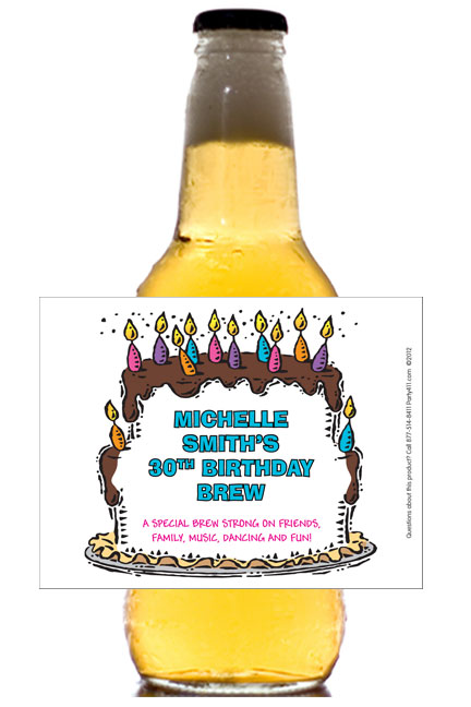 Birthday Cake For Her Theme Beer Bottle Label