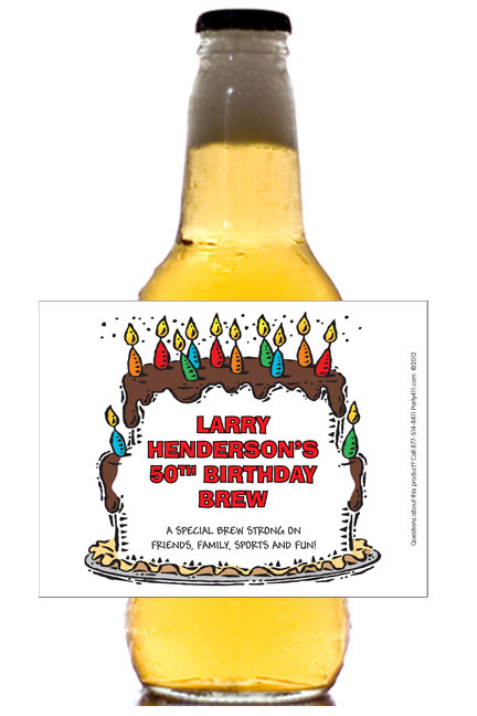Birthday Cake For Him Theme Beer Bottle Label