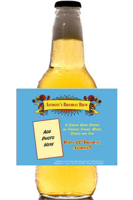 Birthday Balloons Bottle Label, Beer
