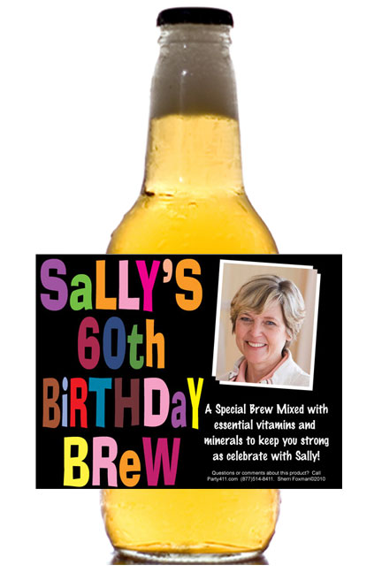 Birthday Celebration Theme Beer Bottle Label