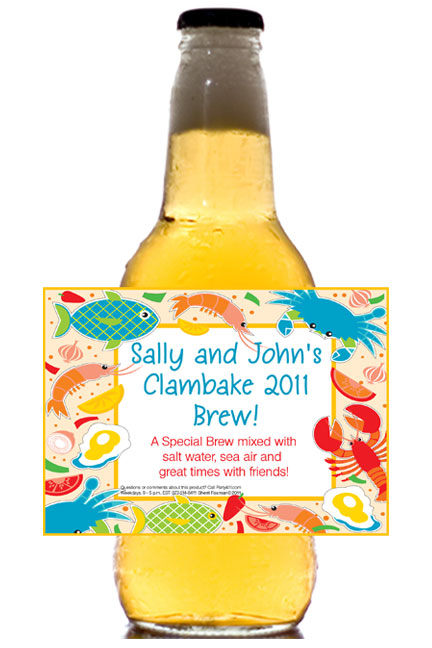 Seafood Theme Beer Bottle Label / A custom beer bottle is the perfect addition to a clambake