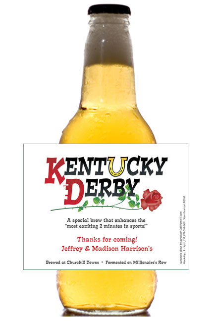 Kentucky Derby Theme Bottle Label, Beer / A refreshing party favor!