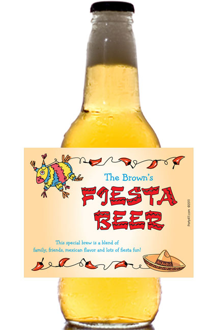 A Fiesta Theme Party Beer Bottle Label / A fiesta theme beer bottle label