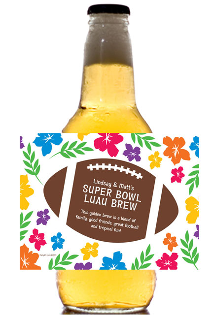 Super Bowl Luau Theme Beer Bottle Label / Luau themed beer bottle labels are great for your Super Bowl party