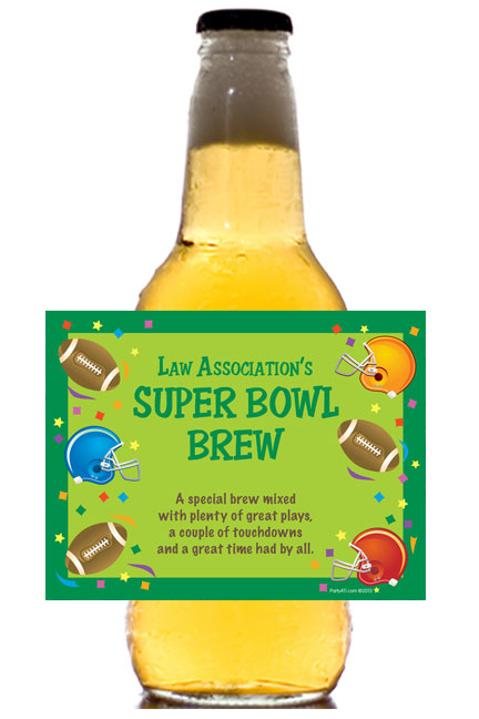 Football Gear Theme Beer Bottle Label