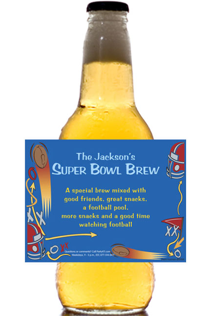 Football Plays Beer Bottle Label / Great for your Super event!