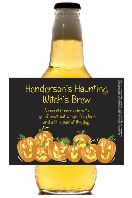 Halloween Fun Pumpkins Theme Beer Bottle Label / Even the adults need a special treat for the holidays