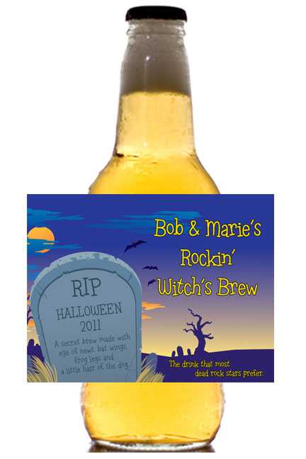 Halloween Graveyard Theme Beer Bottle Label