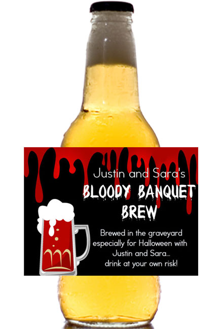 Halloween Bloody Banquet Theme Beer Label / That's not blood in the beer, just your personalized label.