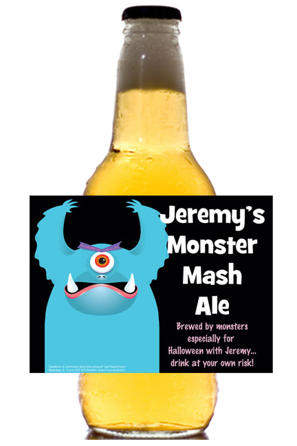 Halloween Monsters Theme Beer Label